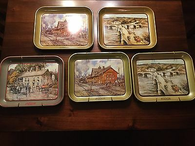 Lot Of 5 coca-Cola Trays Painted By Leslie Cope 1980's