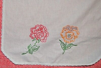 Vintage Dresser Scarf or Doily Red  and Yellow Flower size 14 x 26