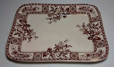 Aesthetic Era Wallis Gimson Brown Transfer Garfield Rectangular Platter