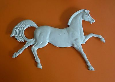 Vintage Cast Metal White Painted Horse Hanging for Gate - Wall - House