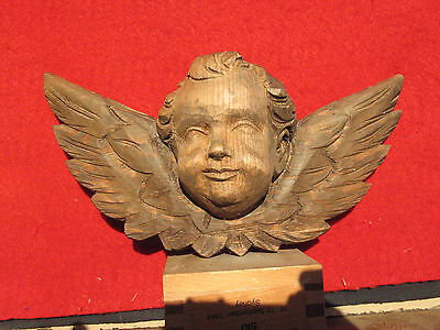 A1486 Vintage Carved Wood Angel Cherub Head with Wings