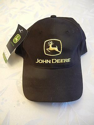 JOHN DEERE Baseball Cap Hat in Black with gold Embroidery -  New with Tag