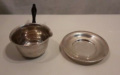 Watson? Sterling Silver Gravy Sauce Pot & Saucer Smooth Wooden Handle