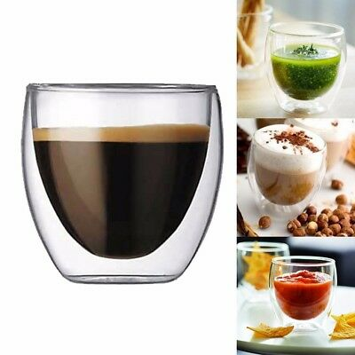 80ML Glass Double Wall Transparent Coffee Mug Cups Insulate Office Tea Mug