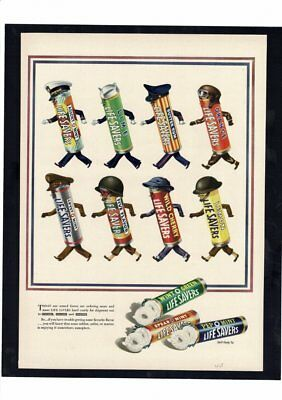 Vintage 1943 Lifesavers Candy Armed Forces Hats Collection Ad Art Print