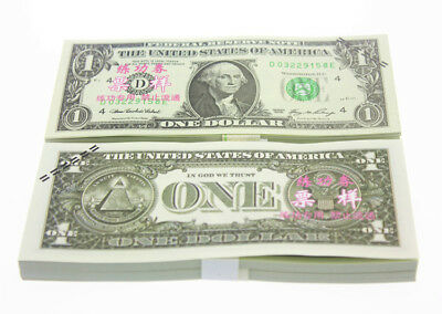 100pcs 1 Dollars Play Money Training Banknotes Practice Fake Bills XY1538-1