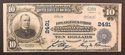 National Currency, $10.00, Los Angeles-First, National Trust & Savings Bank