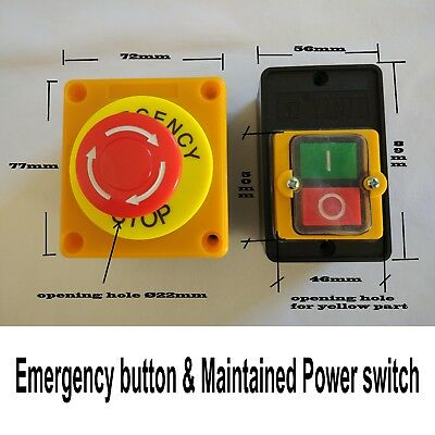 ON OFF Switch Push Button 10A + Emergency Stop Button Water Proof Machine Switch