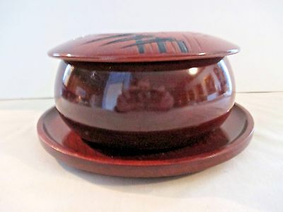 Awesome Asian Hand Made Covered Wood Bowl/w Plate