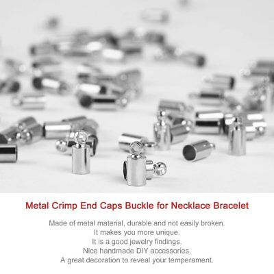 100pcs Metal Crimp End Caps Buckle Necklace Bracelet Chain Clasp DIY Jewelry AU