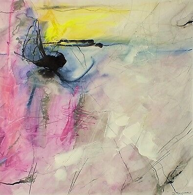 J.Taylor Abstract art original contemporary painting on paper pink yellow grey