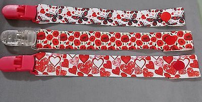3 pack Red baby girls dummy clip pacifier chain saver hearts, flowers, butterfly