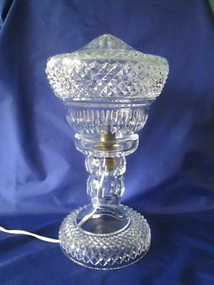 "Large 13"" Heavy Cut Glass Crystal Mushroom Table Lamp"