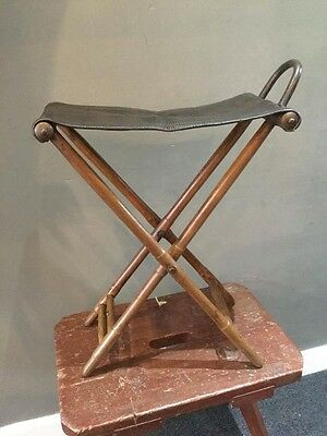 Antique Folding Shooting Racing Fishing Stool Chair Leather Vintage Shop Set