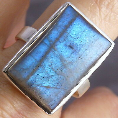 Contemporary Gem STATEMENT SilverSari Ring US 10.25 Solid 925 Silver/LABRADORITE