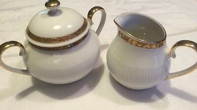Mitterteich Bavaria Germany China 2 Pc Set Cream and Sugar Bowl Gold Trim