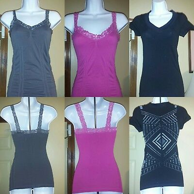 Lot Of 3 : Womens Summer Tanks/t Shirts Spandex/syretchy Pink/black Small,sm S