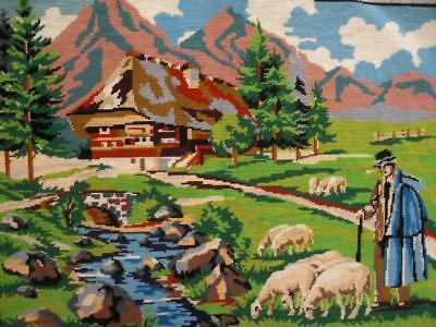 """vintage completed wool needlepoint The shepherd tapestry 20""""x14.5"""""""