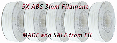 5x 1kg 3mm ABS White - 3D Printer Filament PLA 1.75mm Reprap 5kg 5pcs 3.00mm