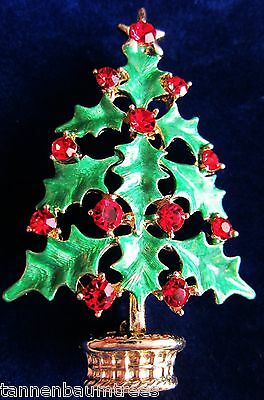 Green Holly Crystal Christmas Tree Lapel Brooch Pin Scarf Holder Velvety GiftBag