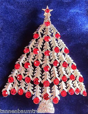 BROOCH Large Red Crystal Christmas Tree Lapel Pin Scarf Holder Velvety Gift Bag