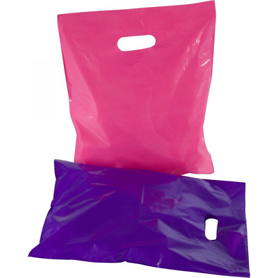 """100 12"""" x 15"""" Glossy Pink and Purple Plastic Merchandise Bags Shopping Bags with"""