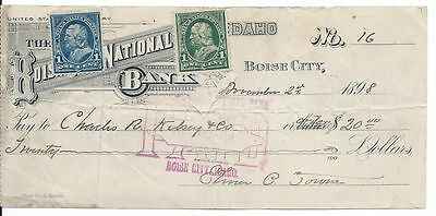 REVENUE USAGE of BLUE & GREEN Franklin POSTAGE STAMPS on 1898 IDAHO - BANK CHECK