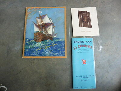 1938 RMS Carinthia Cunard White Star Cruise Ship Deck Plan Booklet & Menus Illus