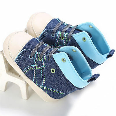 Infant Newborn Baby Boy Girl Soft Sole Canvas Pram Shoes Trainers 6-9 Months