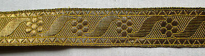 Vintage Gold Metallic Trim Repeating Blossom Scrolled Ribbon  Design French