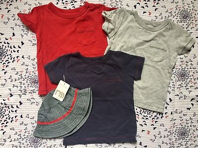Next Set Of 3 T Shirts And Sun Hat 6-9 Months