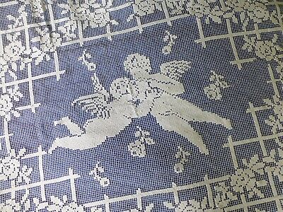 Antique Italian handmade filet lace bedspread tablecloth Cherubs 220cm x 200cm