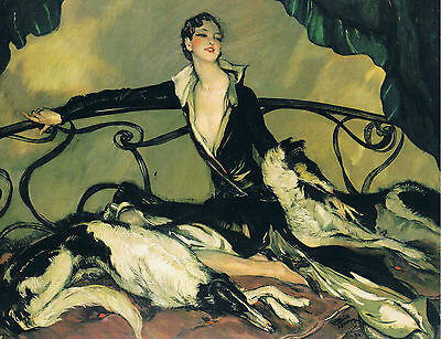 Art Deco Lady Relaxing With Dogs. A 4 Size Photo Print.