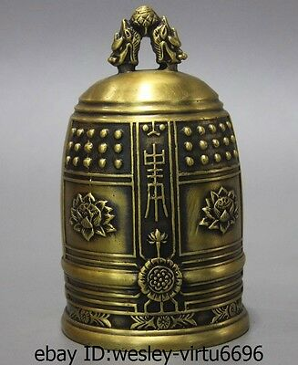 China Buddhism Temple Brass Copper Dragon Lotus Carved Statue Buddha Clock bell
