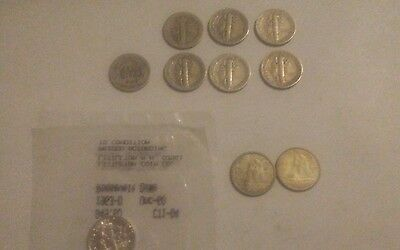 Silver Dimes - Lot of 10 - Mercury, Barber, Canadian,  & Uncirculated Roosevelt