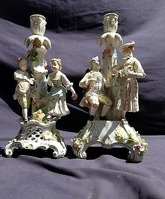 """Pair of DRESDEN Porcelain Candleabras 13"""" tall"""