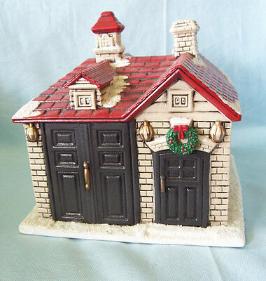 Vintage Handcrafted Ceramic Storage Shed plus Ceramic Red Fire Engine 1983