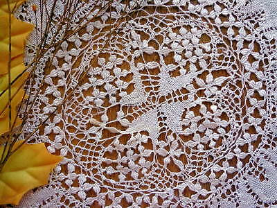 FOUR  Very Old Handmade Honey Silk Maltese Lace Doilies For The Collector