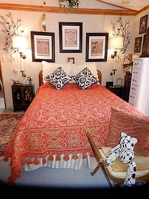 GORGEOUS Vtg Double Woven Wool Coverlet Red Green Angel Motif Full/Queen/King