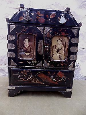 Antique Japanese Meiji Painted Lacquered Jewellery Cabinet Photos On Front