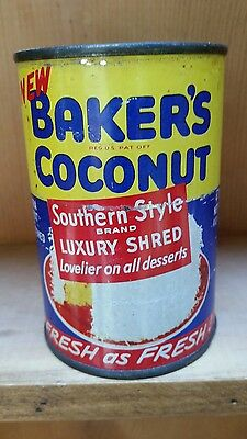 Vintage Unopen Can Bakers Coconut Southern Style Luxury Shred Fresh As Fresh