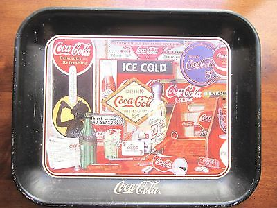 """Vintage Coca Cola Metal Serving Tray """"Through the Years"""" dated 1990 13"""" x 10.5"""""""
