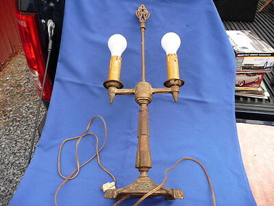 Antique ART DECO Cast iron Lamp: Complete & working! 24 inch by 7 inch