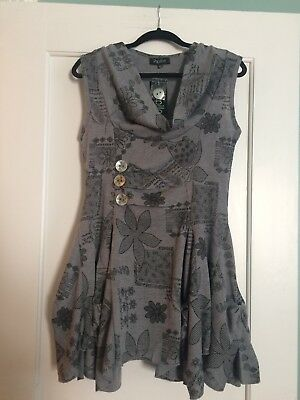 031ebc696ab PAPILLON Gray Sleeveless Cowl Neck Tunic Dress with Flair Skirt SIZE MEDIUM