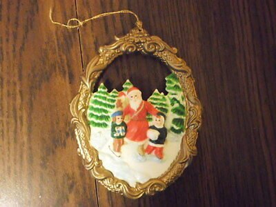 Santa Claus Ice Skating with Children Christmas Ornament