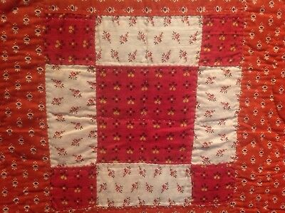 Antique Quilt c1880s Unequal 9 Patch With Madder