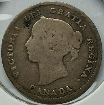 1893 Canada 5 Cents .925 Sterling Silver Coin Queen Victoria  KM#2 Nickel