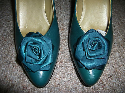 vintage 1980s green classic court high heels shoes 5/narrow foot 6 italy