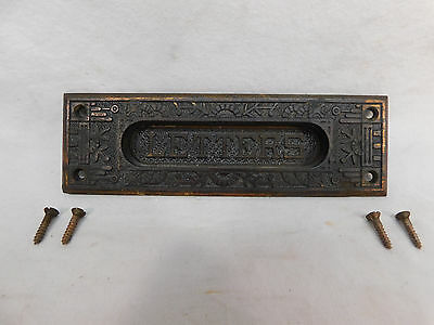 Antique Victorian Eastlake Letter Mail Door Slot - C 1885 Architectural Salvage