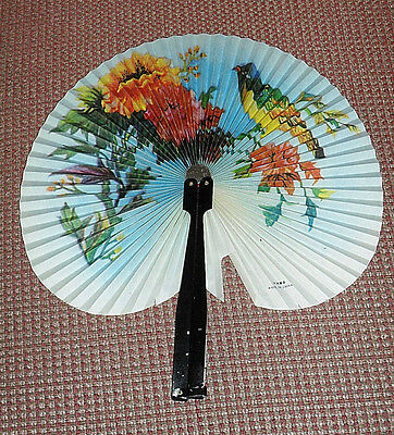 Chinese Paper Hand Fan / bird and flowers / metal handle/case